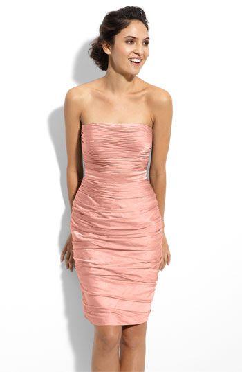 Strapless Ruched Cationic Chiffon Dress