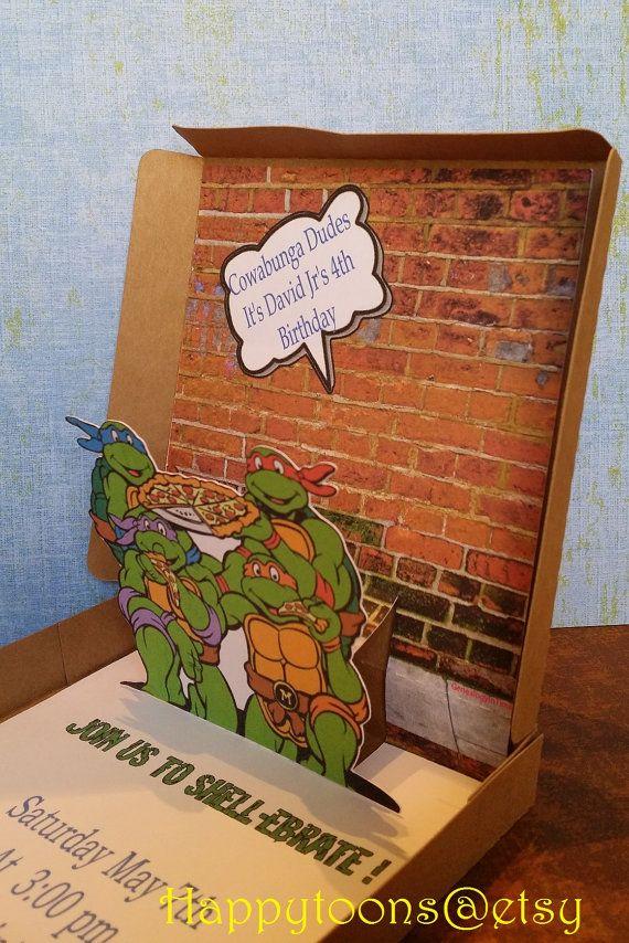 Teenage Mutan Ninja Turtles pop-up invitations set di HappyToons