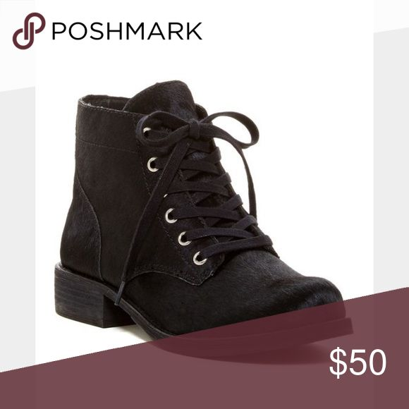 "Sam Edelman Black  Laced Ankle Boots - Booties. - Round toe - Dyed genuine calf hair construction - Topstitching - Lace-up - Lightly padded footbed - Stacked heel - Approx. 4.5"" shaft height - Approx. 1.25"" heel - Imported Sam Edelman Shoes Ankle Boots & Booties"