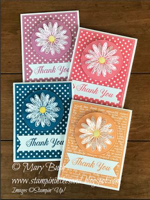 "handmade thank you notecard set created by Stampin' in the Sand ... each one monochromatic with a different color ... die cut daisies on die cut circles ... large ""THANK YOU"" in calligraphic font on a banner ... luv how the colors match in so many products ... Stampin' Up!"
