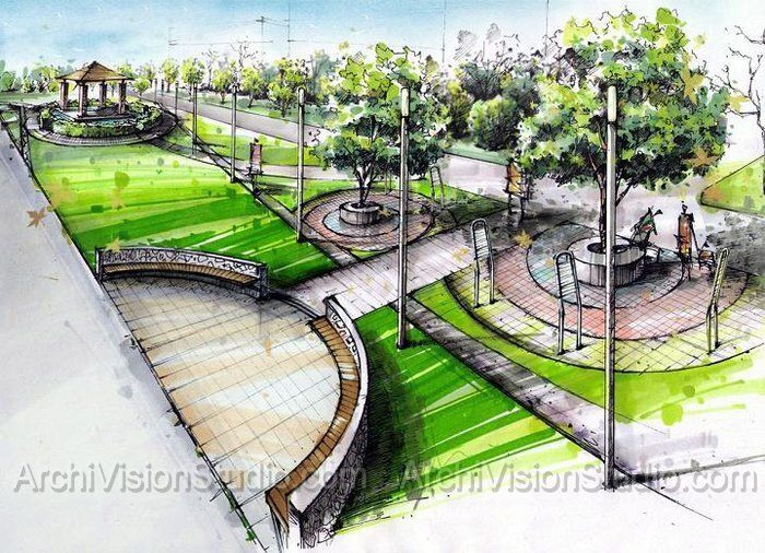 Marker Landscaping Techniques In Rendering Architectural Landscape Design