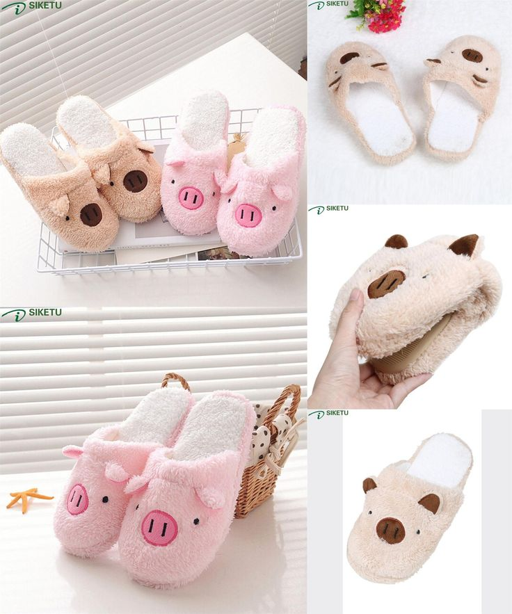 [Visit to Buy] SIKETU Lovely Pig Home Floor Soft Stripe Slippers Female Shoes Mar10 #Advertisement