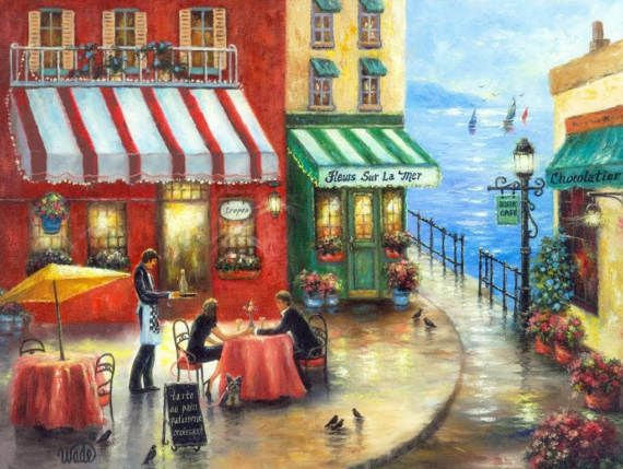 ♥♥♥ Lovers in France at an outdoor sit down cafe. I love the romance of it all! ♥♥♥  French Cafe By the Sea is a large fine art print of an original oil painting of mine. The original is sold. * Image size 11 X 14 printed on 12 X 18 heavyweight smoothe cover paper. * Titled and signed on the back. * This print fits nicely in a ready-made 16 X 20 mat/glass/frame combo found at stores like Michaels Craft Stores, Hobby Lobby or other home decor shops. * French Cafe By the Sea ships in ...