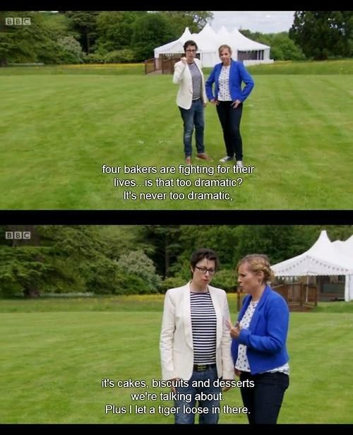 "When they may have gone a bit too far. | 19 Times Mel And Sue Were The Best Part Of ""The Great British Bake Off"""