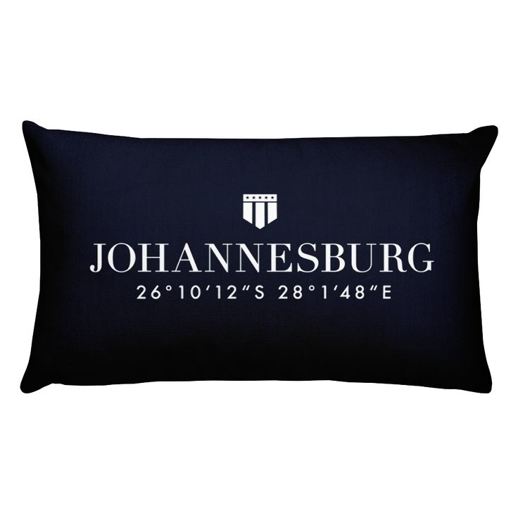 Johannesburg, Africa Pillow with Coordinates