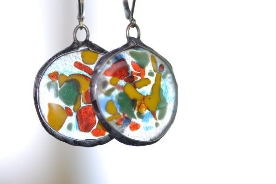 glass earrings colorful fused glass  made with fusing by zolanna