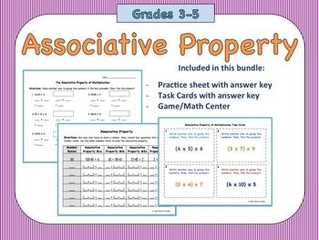 Have students practice the associative property in a guided math printable, with task cards, and a game to use as a center or with the whole group.Included in this Package:- Practice Sheet with answer key- Task Cards with answer key- Task Card Recording Sheet- Game for center/stationPrint and go!