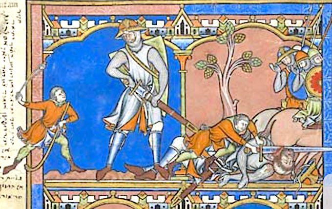Bible crusader (Morgan Library & Museum) fol. 28v (1) Avant que Goliath ait tiré son épée du foureau, David le frappe violemment avec une pierre de sa fronde. Les Philistins consternés regardent le jeune victorieux couper la tête du géant avec l'épée de celui-ci .