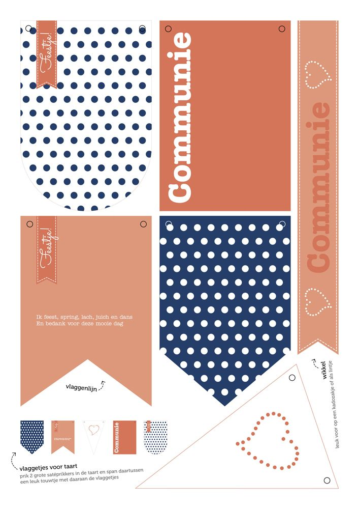 PRINTABLE | communie meisje, girl, blue coral polkadots, blauw, koraal, vlaggetjes, flags, decoratie, decoration, party, feestje