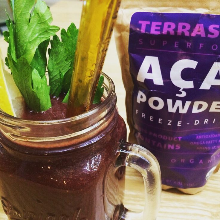 Raw42 juice with acai powder.  As healthy as it can gets