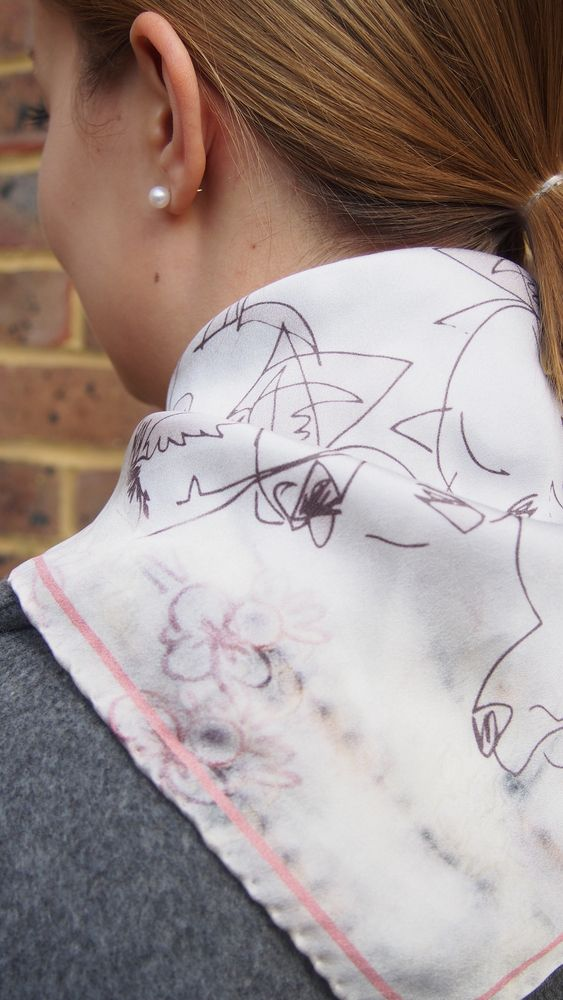 Mari Lwyd and The Foxes Small Digitally Printed Square Silk Scarf Neckerchief £65.00