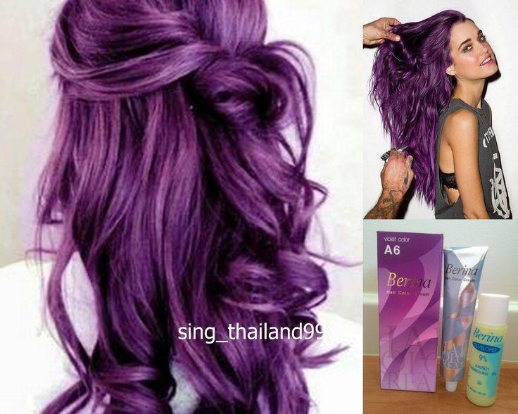Details about 1X Berina A6 Violet Purple Color Hair Cream Color Permanent Super Hair Dye