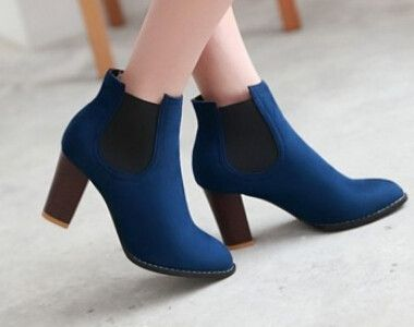 2015 women new fashion autumn spring vintage 8cm high thick heels pointed  toe short boots scrub
