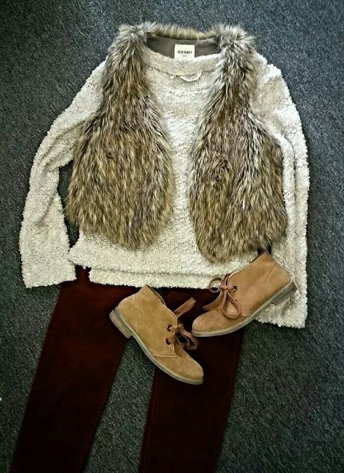 Brr! Another cold day!! We are continuing our faux fun inspiration from yesterday!   True Grit Sweater- $20.25 Old Navy Faux Fur Vest- $16 Kut from the Keith Pants- $35 Blowfish Oxford Booties- $26