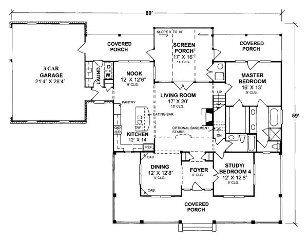 new one level homes first floor plan of country farmhouse house plan 68162
