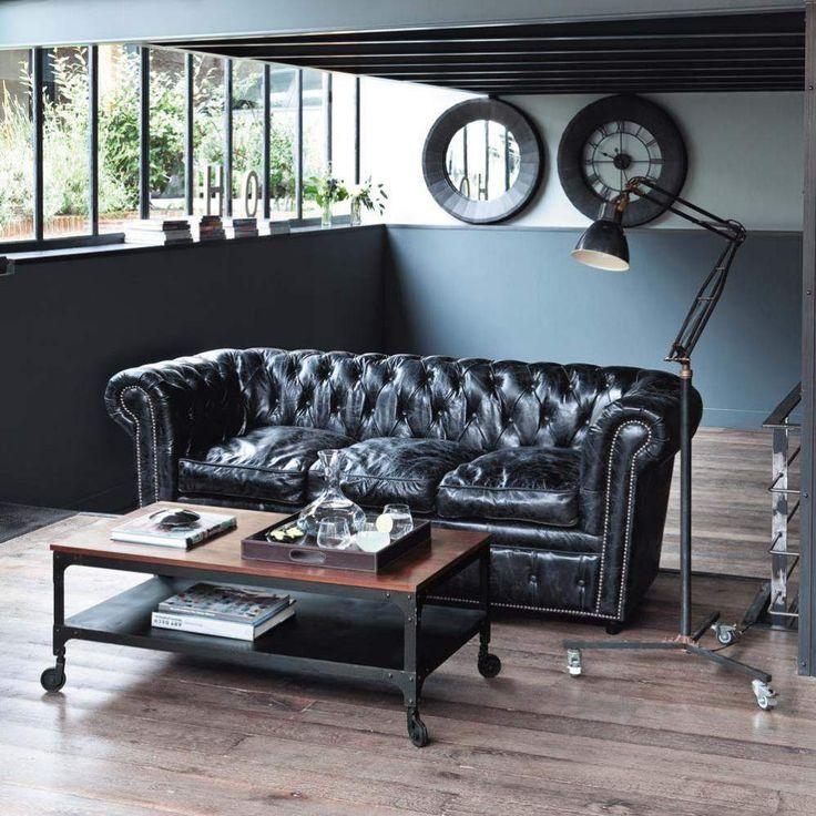 Canape Chesterfield En Cuir Noir Chesterfield Sofa Living Room Sofa Home Home