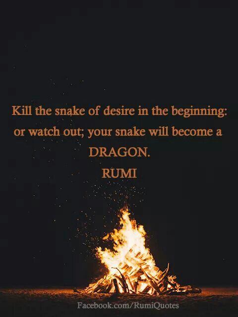 Kill the snake of desire in the beginning or watch out; your snake will become a dragon, - Rumi persian poet