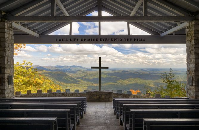 "SOUTH CAROLINA - ""Pretty Place Chapel"" - Mountain chapel in the clouds  by Dave Allen Photography"
