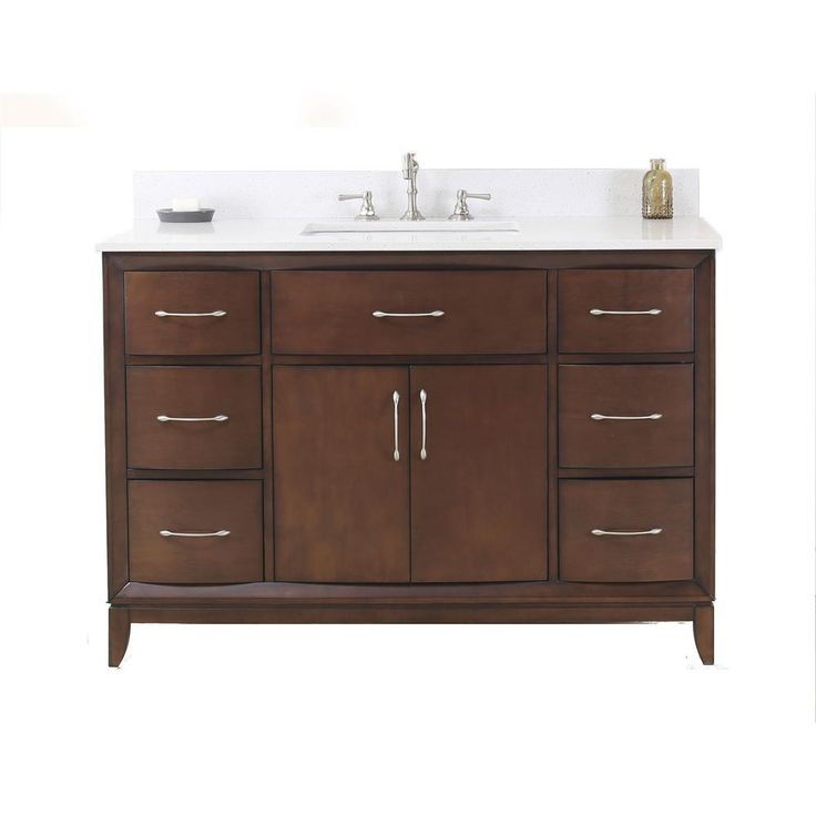 null 48 in. Vanity in Antique Coffee with Quartz Vanity Top in White with White Basin