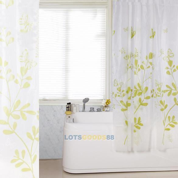 Ls4g бабочка дерево пева ванная комната водонепроницаемой ткани занавески для душа с 12 крючки