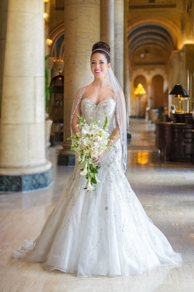 Beaded Strapless Wedding Dress With Long Veil And Updo Miami Elegant Modern Jewish
