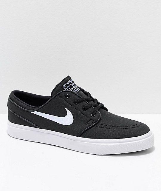 Nike SB Janoski Black & White Ripstop Canvas Skate Shoes ...