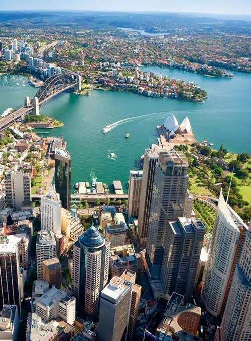 Aerial view of Sydney Harbour, Australia - been there! It's beautiful.