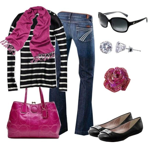 Love the the casual look. The hot pink with the black-stripes is striking.