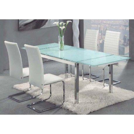 Conjunto de Mesa y cuatro Sillas Salón o Comedor Avior-Osaka está compuesto por una mesa metálica extensible con estructura metálica cromada y con tapa de cristal blanco o negro con cristal templado cuatro sillas metálicas cromadas tapizadas.