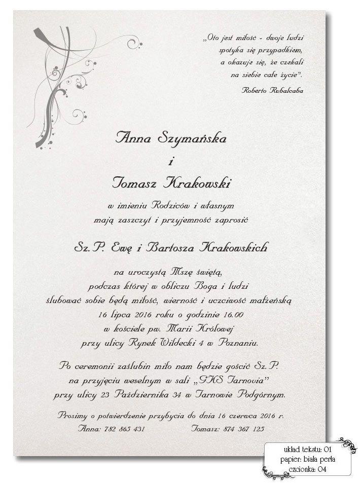 Teksty do zaproszeń ślubnych.