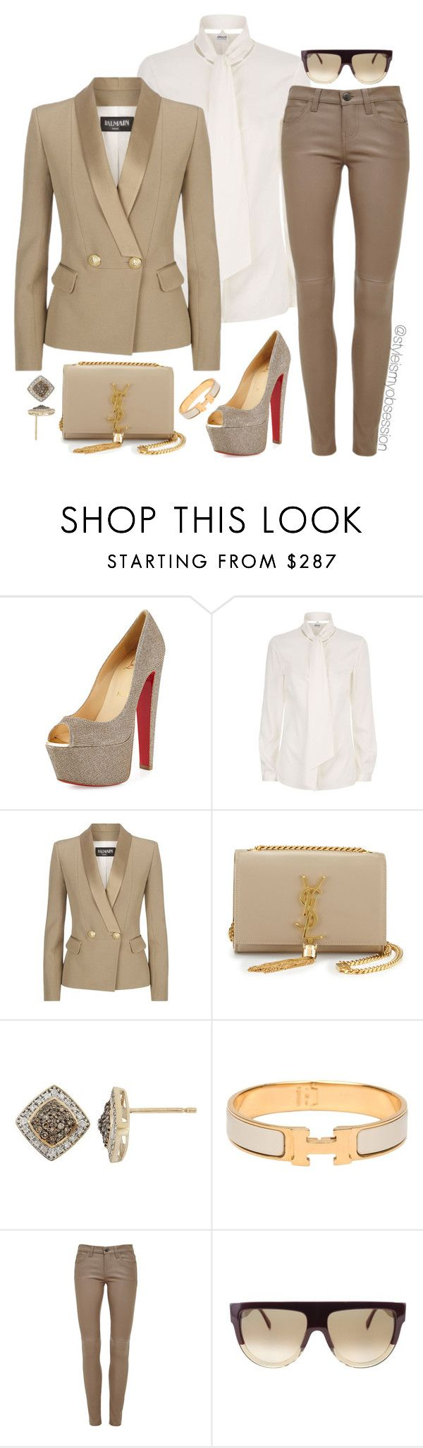 """""""Untitled #1759"""" by dnicoleg ❤ liked on Polyvore featuring Christian Louboutin, Armani Collezioni, Balmain, Yves Saint Laurent, YellOra, Hermès, Current/Elliott and CÉLINE"""