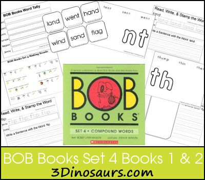 BOB Books Set 4 Books 1 & 2 -  Blends Playdough Mats, Read Write Stamp & Write a Sentence, Blend Ladders, Making BOB Book Words, Tally Mark as you read, and Cube Flashcards - 3Dinosaurs.com