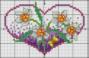 Cross-stitch Spring flower heart chart... no color chart available, just use pattern chart as your color guide.. or choose your own colors...