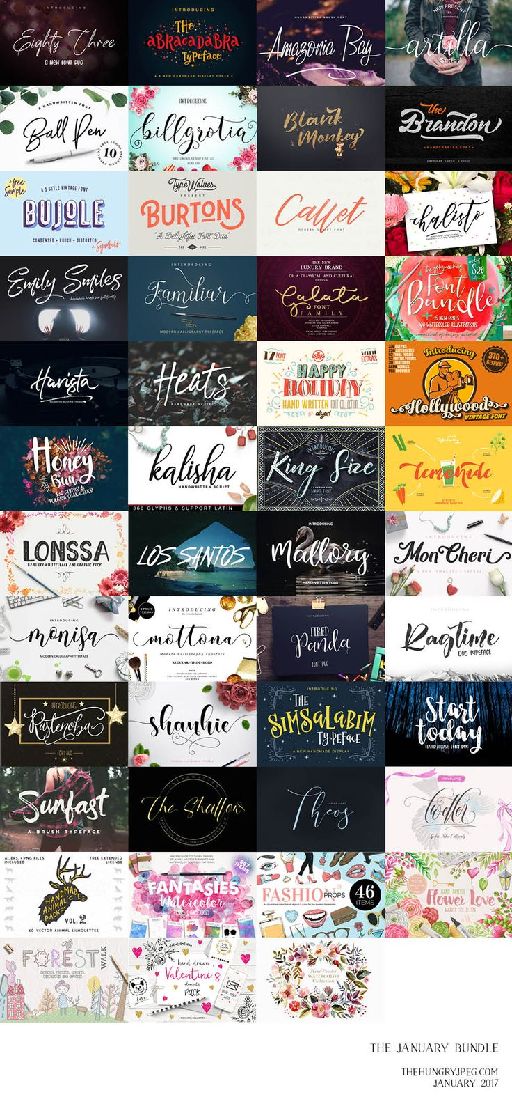 Our first bundle of 2017 is also our biggest EVER bundle, including a whopping 82 fonts!! Yes you read that correctly, 82 fonts over 40 packs. Not to mention we have also included 7 gorgeous graphics packs which containhundreds of hand crafted illustrations. Get a HUGE97% OFF this amazing collection today!! This huge pack comes with our Complete Commercial License allowing you to use our products across a wide range of projects for both personal and business use.