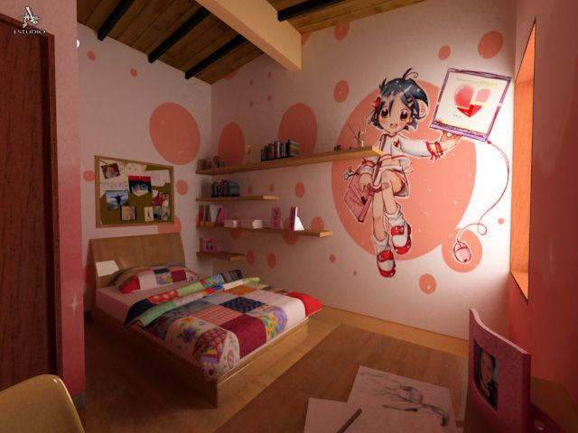 Kawaii themed bedroom for teenage girl decorated with cute for Anime themed bedroom ideas