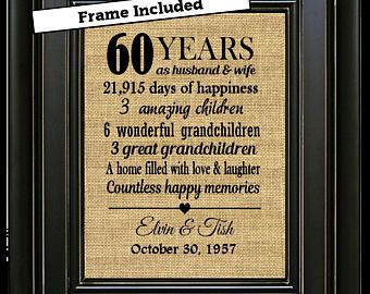 Framed 60th Wedding Anniversary Gifts