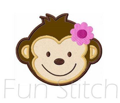 monkey girl applique machine embroidery design