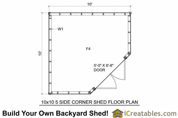 10x10 5 Sided Corner Storage Shed Floor Plans Corner Sheds Shed Plans Shed Floor Plans