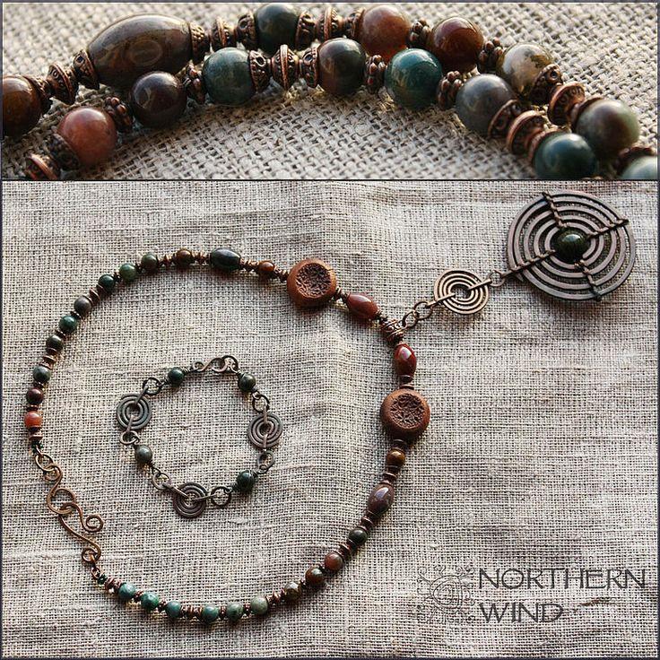 """Купить Ожерелье """"Из глубины времен"""" - ожерелье, медь, медное ожерелье, медная подвеска, яшма"""