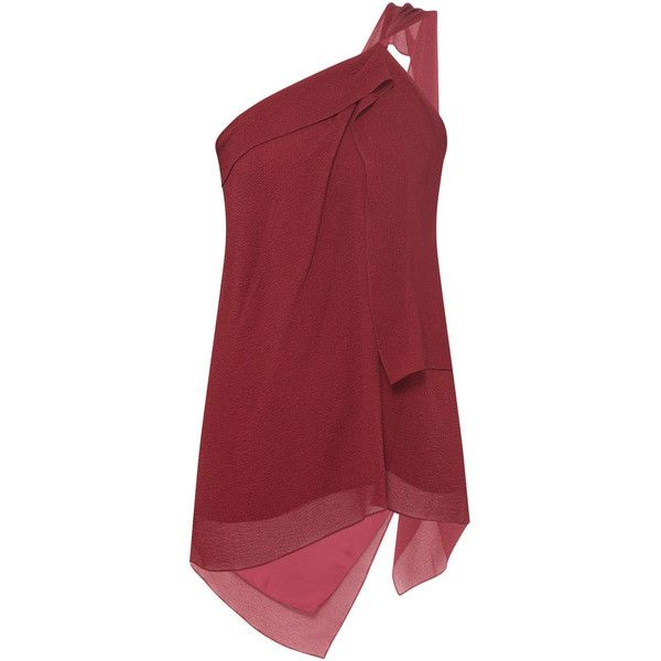 ROLAND MOURET Bilton One Shoulder Top ❤ liked on Polyvore featuring tops, frilly tops, red one shoulder top, one sleeve top, flounce tops and roland mouret