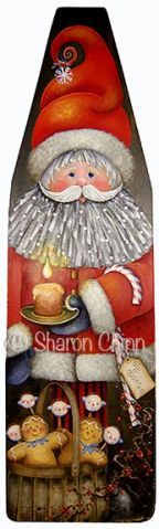 Santa's Midnight Treats Vintage Ironing Board by Sharon Chinn . . . i love painting old ironing boards...this is so cute . . .