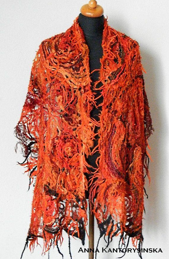silk scarf shawl MOZAMBIQUE handmade artsy unique by kantorysinska
