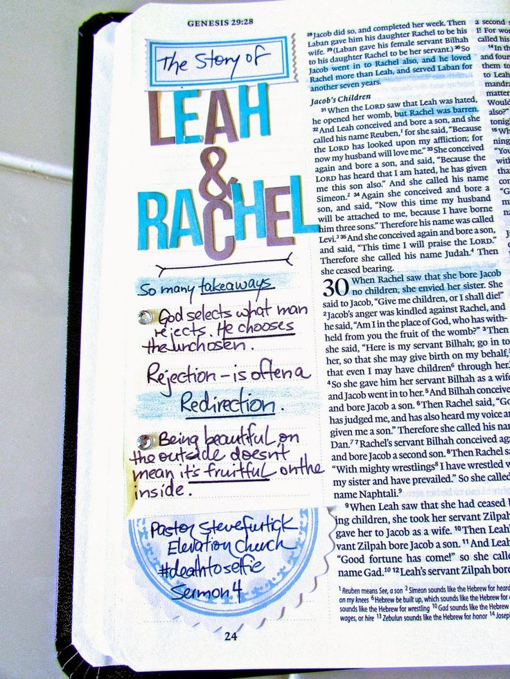 When God Leads | Bonita Rose.  Bible journaling of the story of Leah & Rachel.