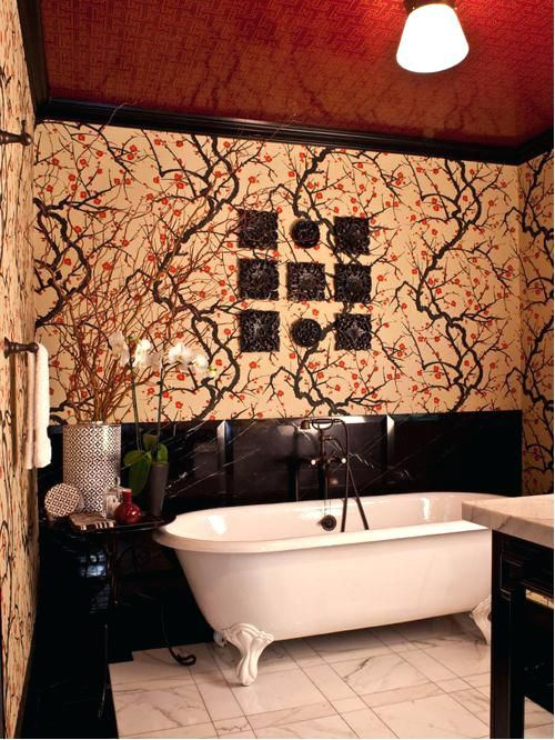 asian wallpaper for walls marble floor claw foot bathtub idea in with multicolored walls asian wallpaper for walls