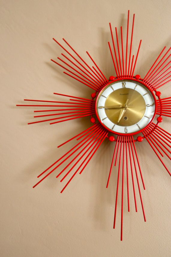 Mid Century Retro Red Vintage Star Fire Clock by VintageGorilla, $149.99