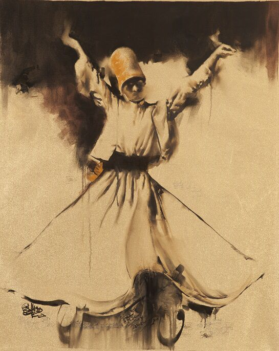Painting of dance dervishes