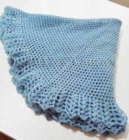 Laura Fa Mantellina Della Nonna Celeste Uncinetto Knit Crochet