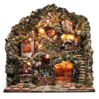 Presepe illuminato con forno, cascata, fontana, macina e mulino a vento funzionanti | vendita online su HOLYART