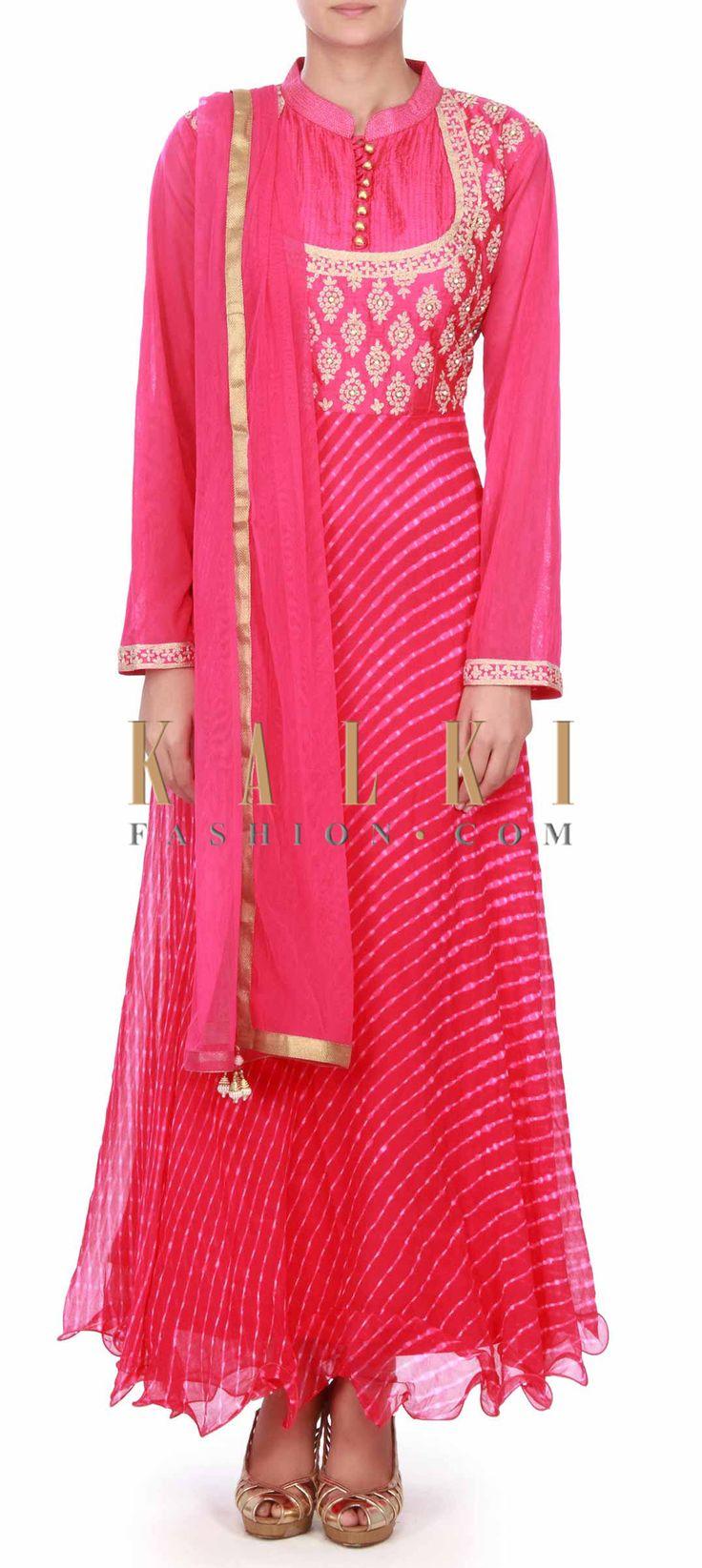 Buy this Rani pink anarkali suit in zari bodice only on Kalki