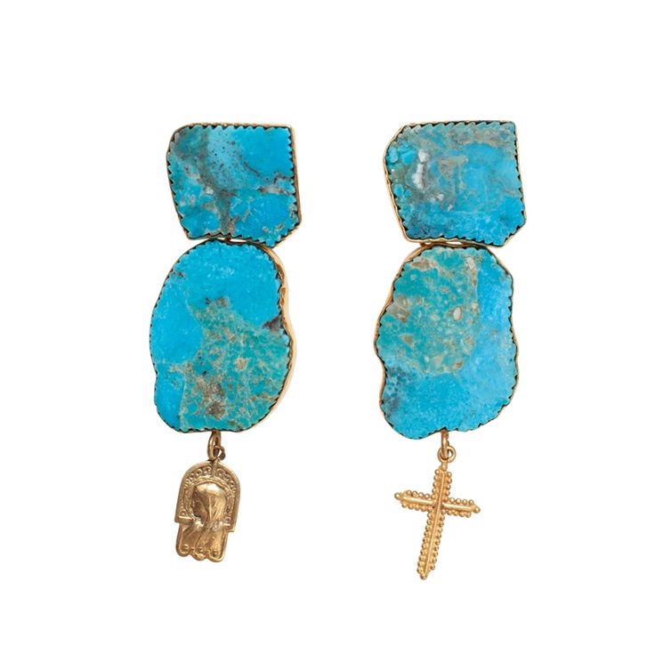 Gospel Turquoise earrings - $240. Statement stud drop earrings crafted in gold plate, with large dual polished turquoise stones with alternate embossed angel silhouette and crucifix charms. Lovingly designed in Brisbane by luxe Australian designer jewellery label Angle Diamond Dot. www.savethelastpinker.com.au/shop/gospel-turquoise-earrings/
